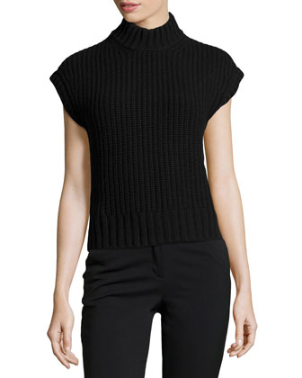 Cashmere Shaker-Knit Mock-Neck Top, Black