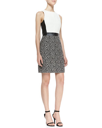Chelsea Woven Tweed Contrast Dress, Black/White