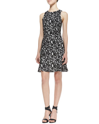 Bound Lace Contrast Dress, Black/White