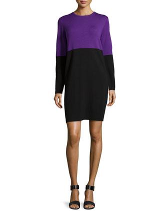 Merino Colorblock Dress, Grape