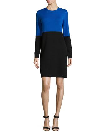Merino Colorblock Dress, Royal