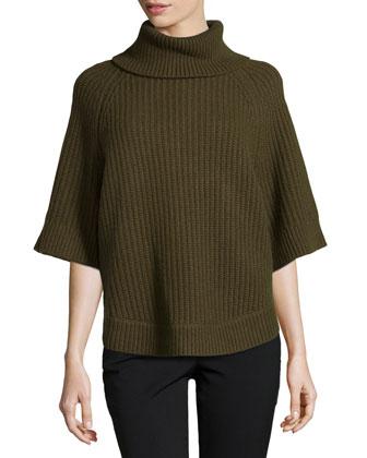 Cashmere Shaker-Knit Turtleneck, Olive