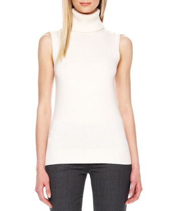 Rib-Trim Sleeveless Turtleneck, Ivory
