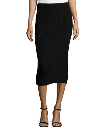 Cashmere Shaker-Knit Pencil Skirt, Black