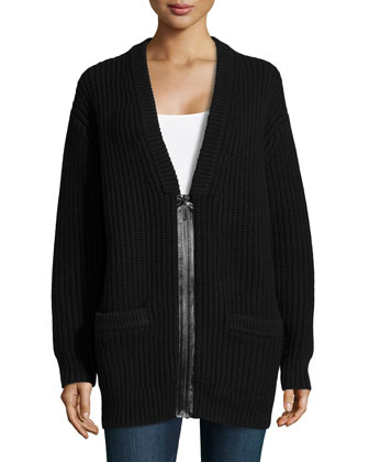 Cashmere Shaker-Knit Zip Cardigan, Black