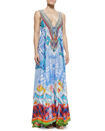 Long V-Neck Printed Dress