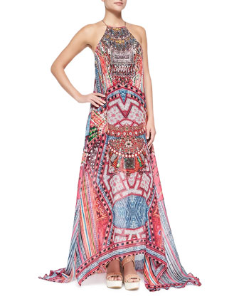Beaded Printed Silk Maxi Coverup Dress