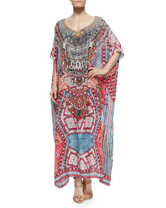 Scoop-Neck Printed Beaded Coverup