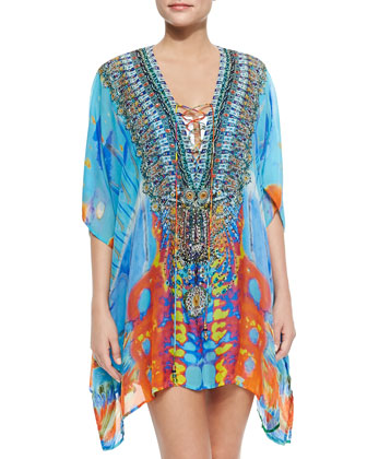 Short Lace-Up Silk Caftan Dress, Take My Hand