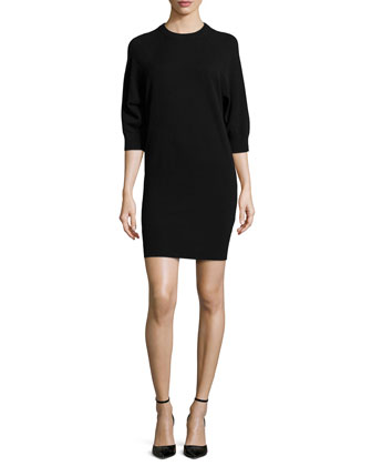 Cashmere-Blend 3/4-Sleeve Dress, Black