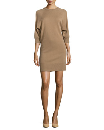 Cashmere-Blend 3/4-Sleeve Dress, Chino