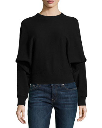 Cashmere Long-Dolman-Sleeve Top, Black