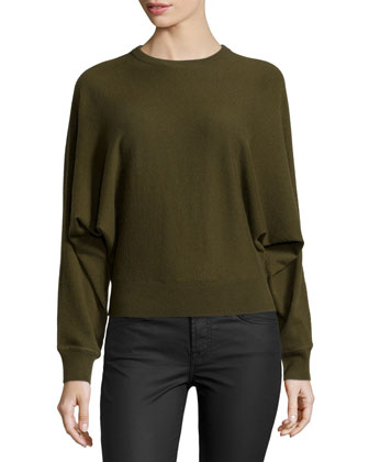 Cashmere Long-Dolman-Sleeve Top, Olive