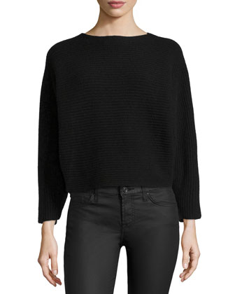 Long-Sleeve Shaker-Knit Cashmere Top