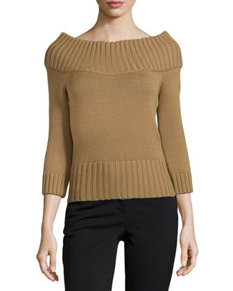 Off-the-Shoulder Ribbed Wool Sweater, Chino
