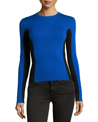 Two-Tone Wool Sweater, Royal