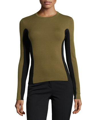 Two-Tone Wool Sweater, Military