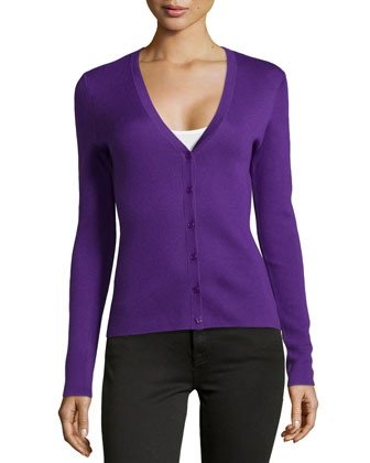 Superfine Cashmere Cardigan, Grape