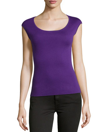 Cashmere Ballet-Neck Shell Top, Grape