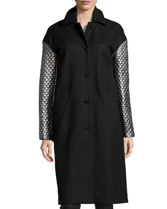 Melton Metallic-Quilted-Sleeve Coat, Black