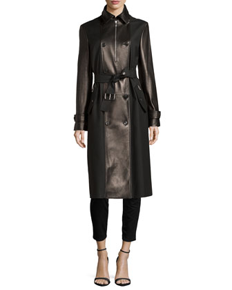 Leather Combo Trenchcoat
