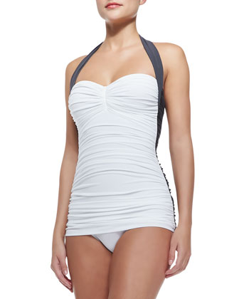 Bill Mio Combo One-Piece Swimsuit, White/Pewter