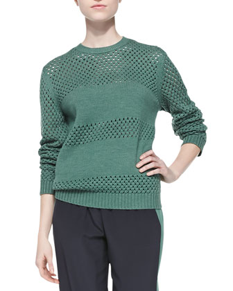 Leona Open-Stitch Paneled Sweater & Lennie Silk Colorblock Pants