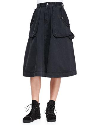 Tea-Length Cargo Skirt, Black