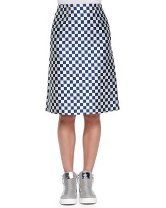 Checkerboard Jacquard A-Line Skirt
