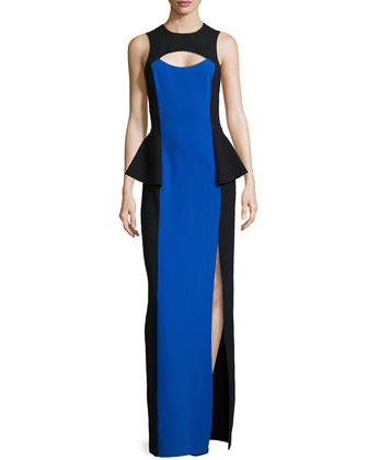 Colorblock Cutout Peplum Gown