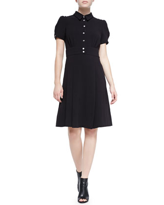 Yumi Button-Front Crepe Shirtdress