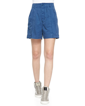 Classic Cotton Pleated Shorts