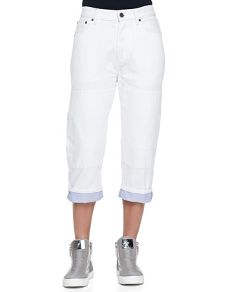 Relaxed Cropped Roll-Cuff Jeans, White