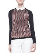 Carmine Feather-Stitch Sweater
