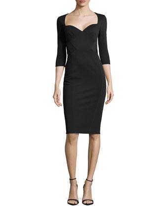 3/4-Sleeve Sweetheart Sheath Dress, Ink