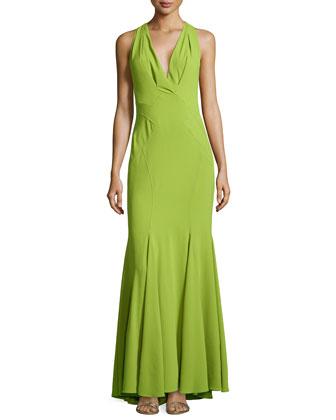 Seamed Godet Halter Gown, Lime