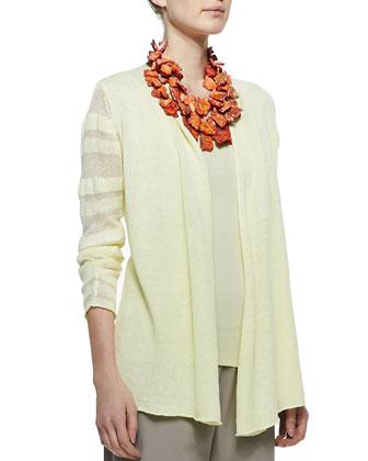 Linen Jersey Shadow Striped Cardigan, Petite