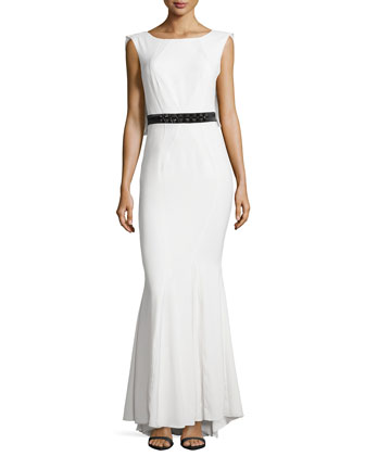 Beaded-Waist Open-Back Gown