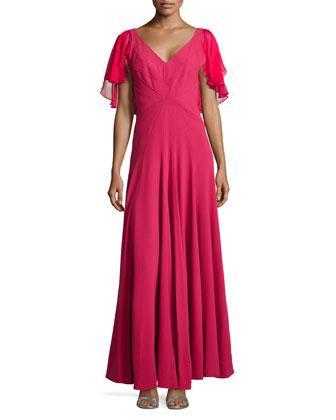Flutter-Sleeve Full Gown