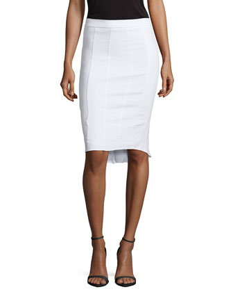 Pleat-Detail Pencil Skirt