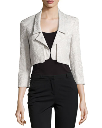 Pleat-Detail Jacquard Jacket, Slate