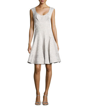 Jacquard Scoop-Neck Flared Dress