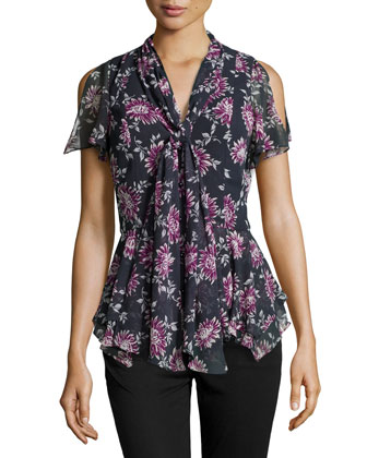 Floral-Print Flutter Tie Blouse, Ink-Fuchsia