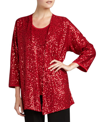 Sequined Open Jacket, Ruby