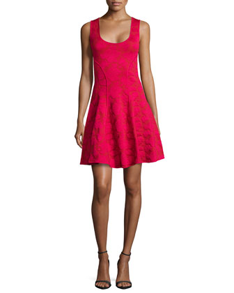 Knit Fit & Flare Dress, Raspberry
