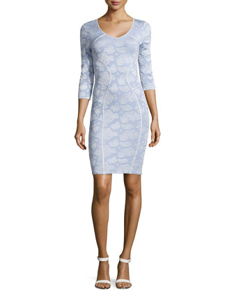 Knit Fitted Long-Sleeve Dress, Ice