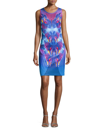 Printed Neoprene Tank Dress, Island Multi