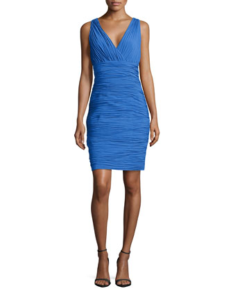 Shirred V-Neck Sleeveless Dress, Island