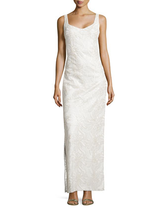 Floral Embroidered & Sequined Gown, Pale Gold