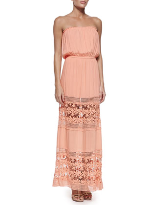 Charlotte Strapless Maxi Dress, Peach/Sun Lace